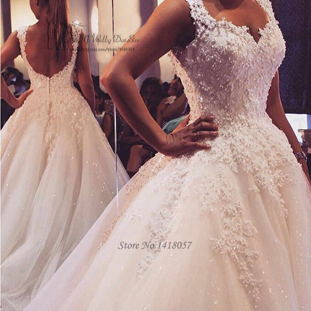Vestido de Noiva Luxury Puffy Ball Gown Wedding Dresses Lace Bride Dress 2017 Backless Wedding Gowns Pearls Sequined Brautkleid