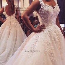 Vestido de novia de lujo de Noiva, vestidos de novia de encaje, vestidos de novia con espalda descubierta 2017, vestidos de boda con lentejuelas Brautkleid