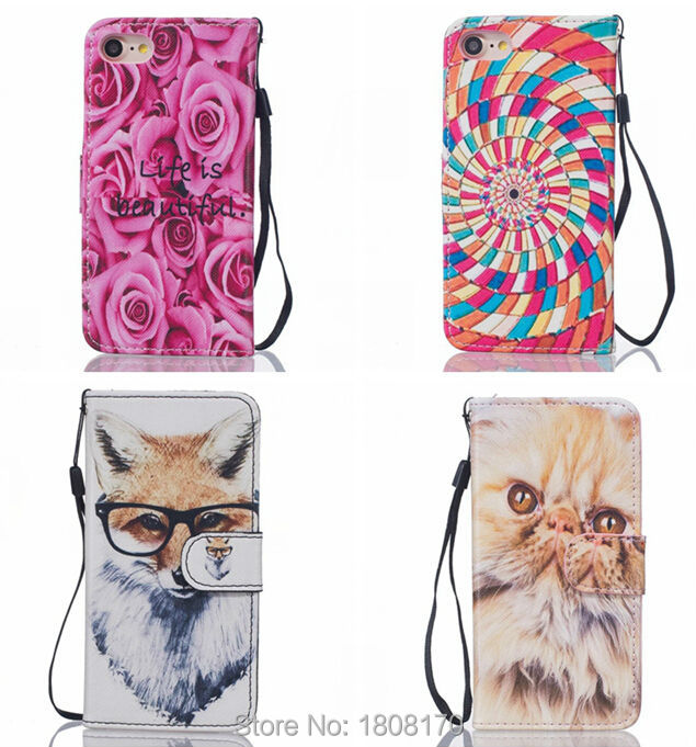 Strap Bling Glitter Dog Wallet Leather Pouch Case For Samsung Galaxy S8 J5 2017 Iphone 7 6 6S Plus Rose Stand Card Cover 8pcs
