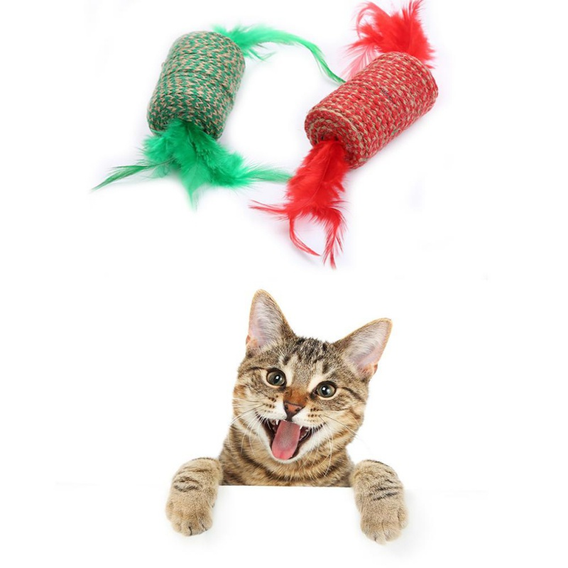 Candy Shape Cat Toy Ball Interactive Cat Toys Play Chewing Rattle Scratch Sisal & feathers Ball Training Pet Supplies For Gatos