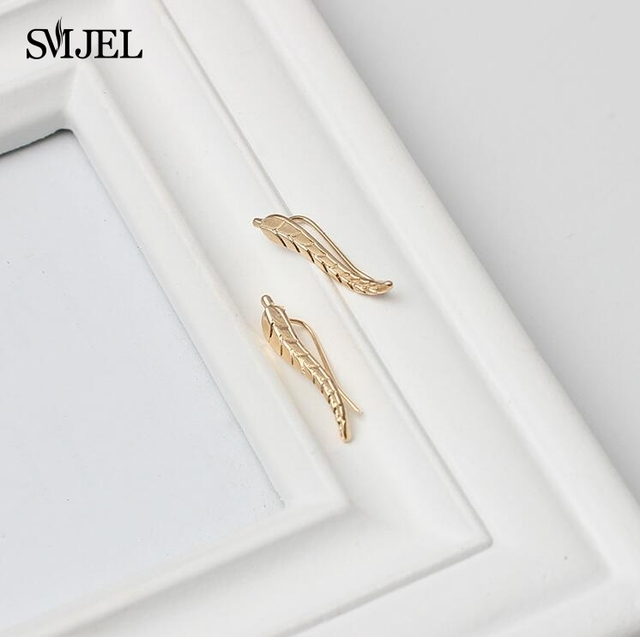 SMJEL 2017 Fashion Feather Women Earrings Boho Long Vintage Leaf Stud Earrings ear Cuff Jewelry  Accessories Gift