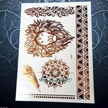 1PC Big Size Gold Lions Temporay Tattoo Sticker Women Henna PJ-41 Golden Lion King Flash Metallic Tattoo Waterproof Body Art