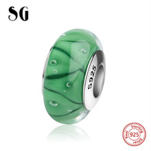 SG classic silver 925 charms Murano glass beads with romantic purple flower fit authentic pandora bracelets jewelry making gift
