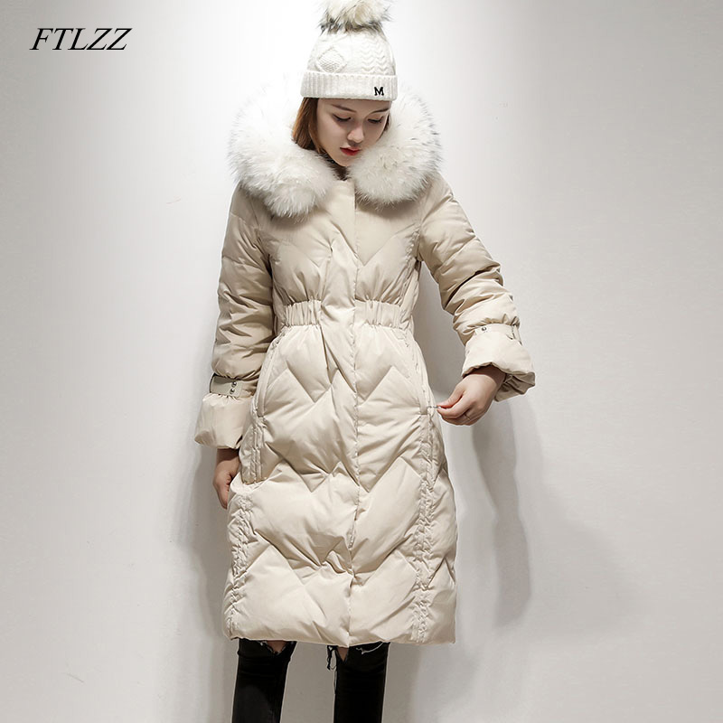 FTLZZ Women Winter Real Raccoon Fur Parkas Coat Hooded White Duck Down Jacket Medium Long Slim