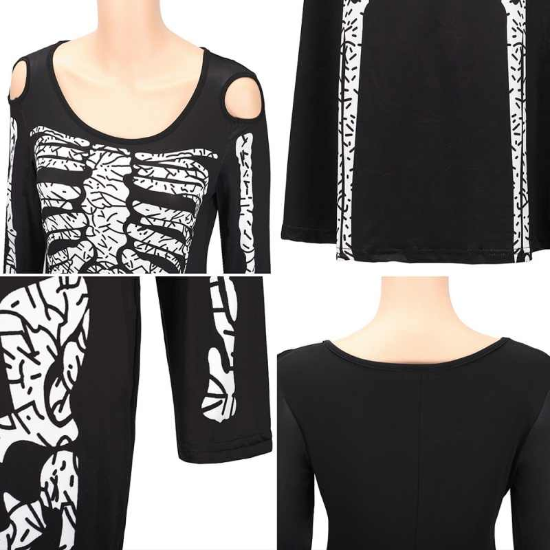 609f803876 Plus Size 2XL Halloween Dress Skeleton Print Scary Horror Costumes Play New  Ghost Clothes Strech Party Cosplay Long Dress