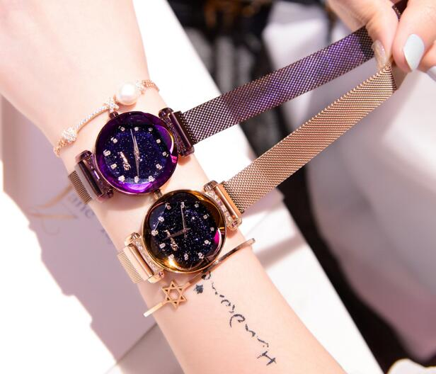 2018 new starry sky watch female feature magnet buckle strap free buckle watch