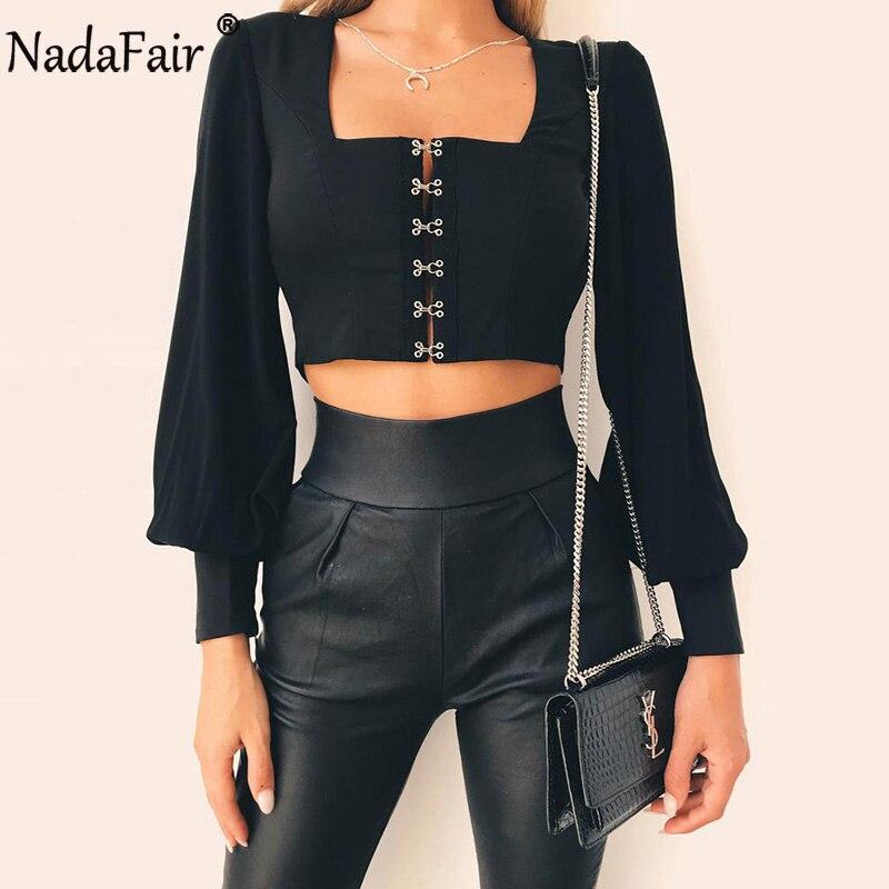 Nadafair Collar cuadrado abierto de manga larga Blusa de gasa verano de las mujeres de encaje manga linterna Tops