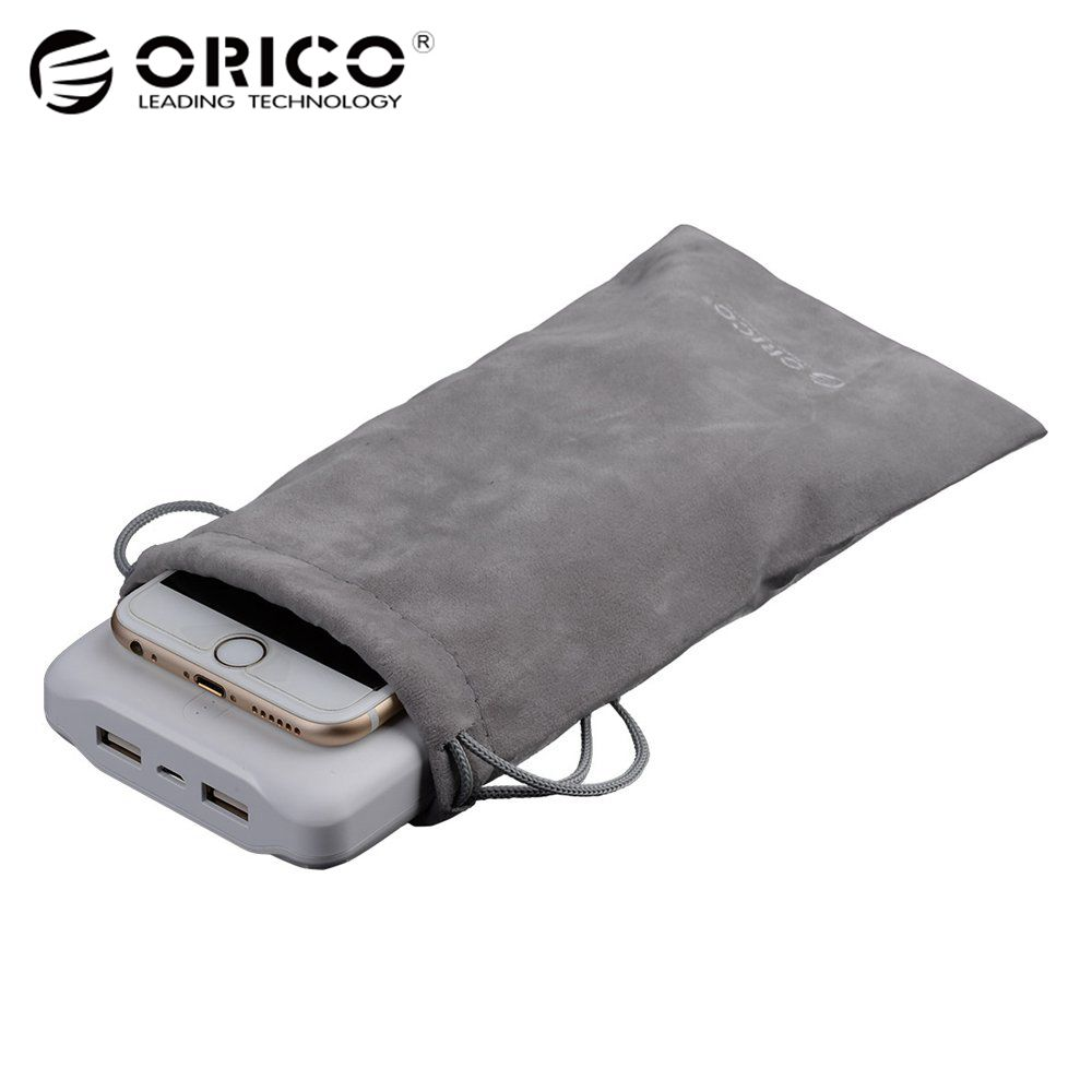 ORICO Phone Storage Velvet Bag Storage for USB Charger/USB Cable/Power Bank/Phone and More Gray Color orico storage box phone holder power strip box for adapter wire charger line usb network hub cable management box