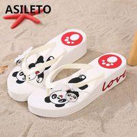 ASILETO 2019 Summer wedges shoes for women High Heels Platform cartoon panda Casual Flip flops Beach Slippers bow slides pantufa