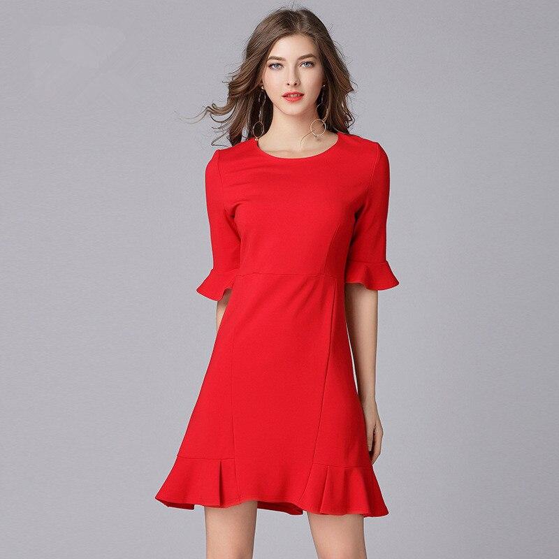 Женское платье с рукавами фонариками, Красное Облегающее Платье с тостом, L 5XL, 2018