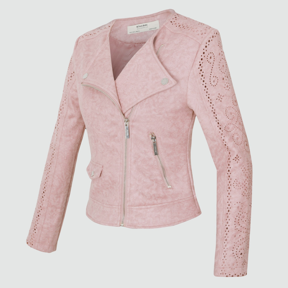 Новинка 2018; высококачественные модные демисезонные замшевые короткие мягкой искусственной кожи куртка Тонкий розовый серый S-XL кожаные пал... ...