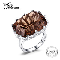 HUGE Gem Stone 23ct Natural Smoky Quartz Cocktail Ring Women Concave Pure Solid Genuine 925 Sterling