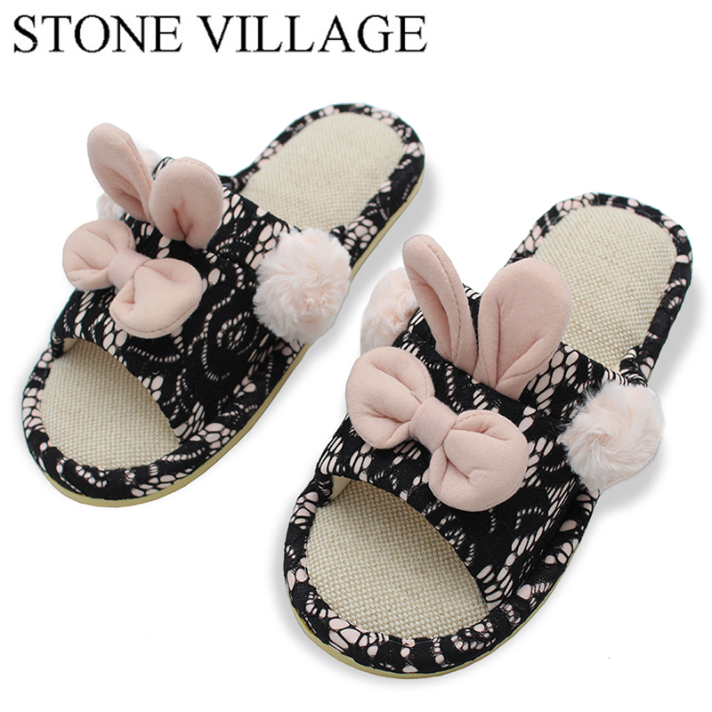 Lovely Slippe Autumn And Winter Cute Cotton Women Slippers Plus Warm Home Slippers Non-Slip Indoor Shoes Bowtie Cute Women Shoes