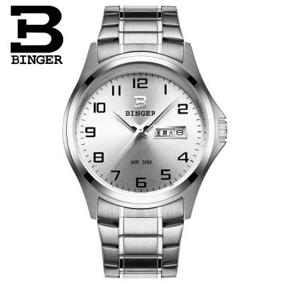 2017 New Brand Binger Wristwatch Sport Watches for Men White Dial Japan Quartz Movement Watch with Date Designer Watch men quartz watches new fashion sport oulm japan double movement square dial compass function military cool stylish watch relojio