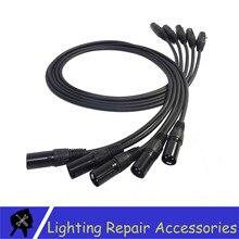 5 Pcs/lot 1M 2M 3M 4M 5M 3 PIN DMX Signal Cable Black Connector  DMX Line Cable For DMX512 Controller Led Par Stage Lights