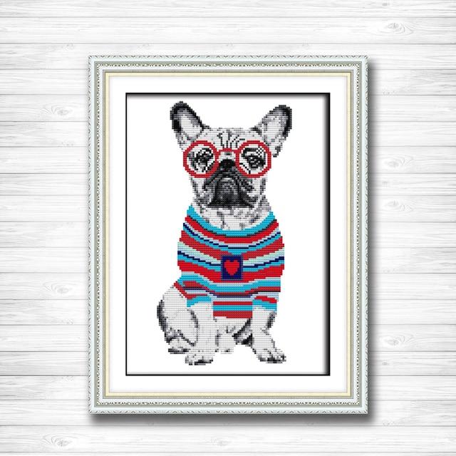 French Bulldog Painting Dmc 14ct 11ct Counted Cross Stitch