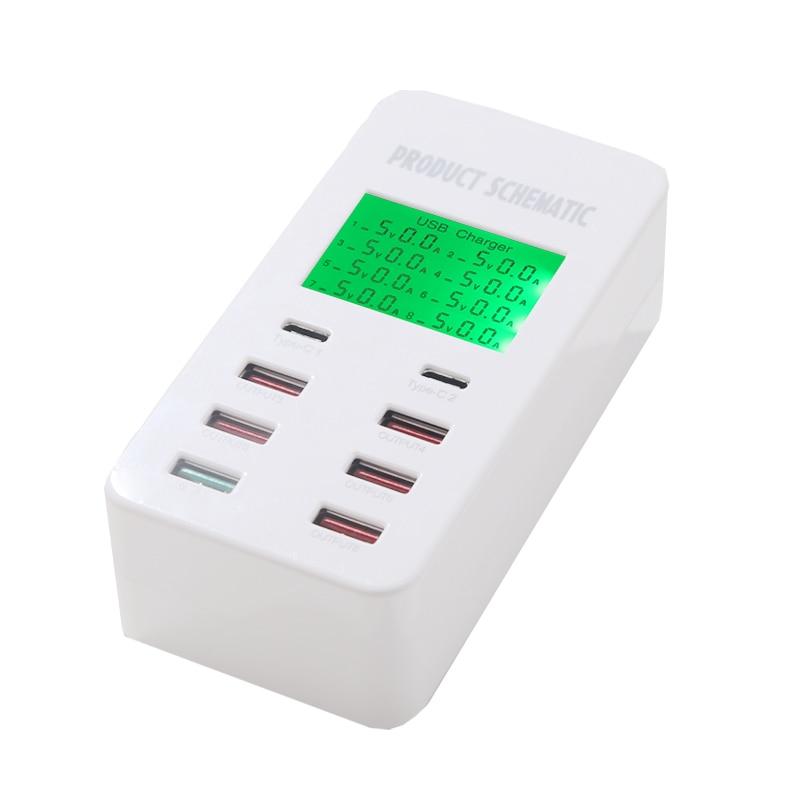 INGMAYA 8-port USB-laddare 7A snabbladdning 3.0 USB-C typ C - Reservdelar och tillbehör för mobiltelefoner - Foto 2