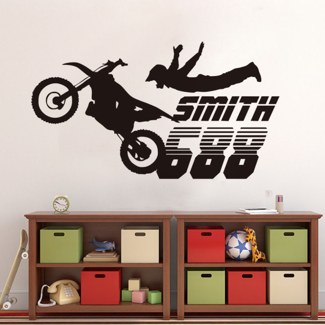 Free Shipping Motocross Motorcycle Wall Stickers Boys Room Home Decor Vinyl Mural Decal