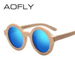 AOFLY BRAND DESIGN Wooden Fashion Sunglasses For Women Round Polarized Lens Bamboo Frame Eyewear Sun Glasses UV400 AF614