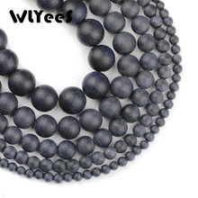 WLYeeS Natural Gem Stone bead Matte Dark Blue Sand Stone Round ball 4 6 8 10 12mm Ore Loose bead jewelry bracelet Making DIY 15