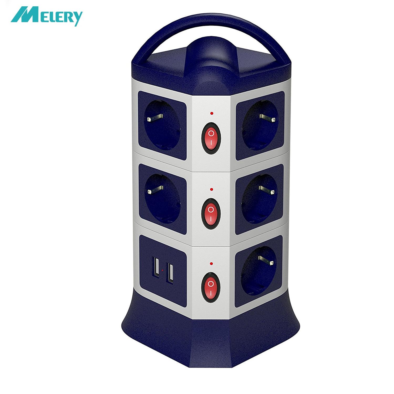 Multiprise Prises USB 7/11 Prises ue Prise avec USB Parasurtenseur Individuellement Commutateur 1.8 m/6ft Rallonge Rétractable cordon