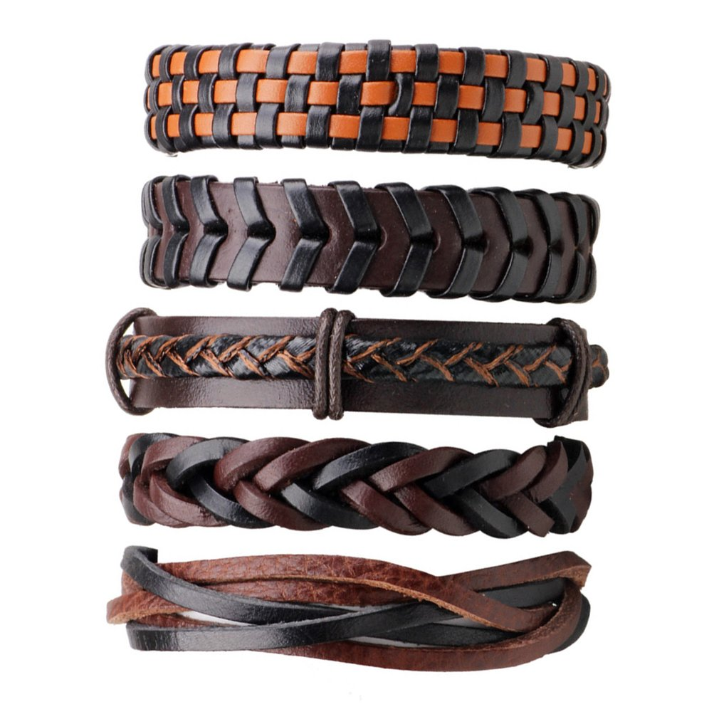 5pcs/pack Handmade Ethnic Tribal Multi Style Braided PU Leather Wrap Charming Male Pulsera Bracelets Bangles