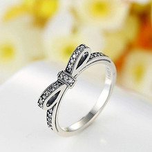Women's Vintage Rhinestone Inlaid Bowknot Engagement Finger Ring Jewelry Gift