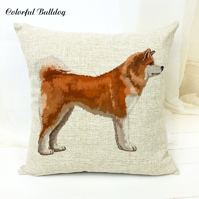 Power Source Cute Akita Pattern Cushion Cover Snowflake Coat Bamboo Grass 1 Side Print Pillow Case Car New Year Gift Bedroom Sofa Decoration