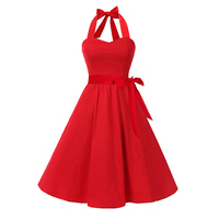 Sisjuly 1950s Vintage Dress Summer Red Halter Sexy Party Women Dresses Black A Line Elegant Sleeveless
