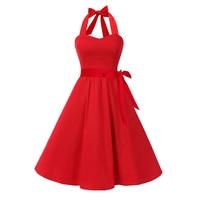Sisjuly 1950s Vintage Dress Summer Red Halter Sexy Party Women Dresses Black A Line Elegant Sleeveless