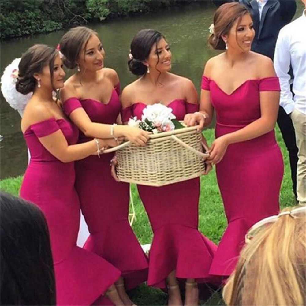 Hot Pink Satin   Bridesmaid     Dresses   Boat Neck Off The Shoulder Mermaid Wonderful Wedding Guest   Dress   2019 Cheap Women Party Gowns