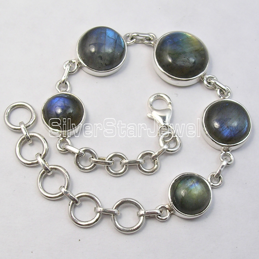 Cari International Argent BLEU FLASH LABRADORITE MODERNISTE Lourd Bracelet 8 Pouces