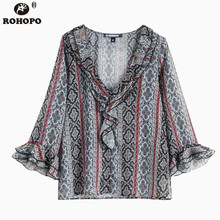 ROHOPO Women Butterfly Long Sleeve Vintage Chiffon Blouse Striped Printed Pullover Retro Autumn Floral Top Shirt #OYK9644