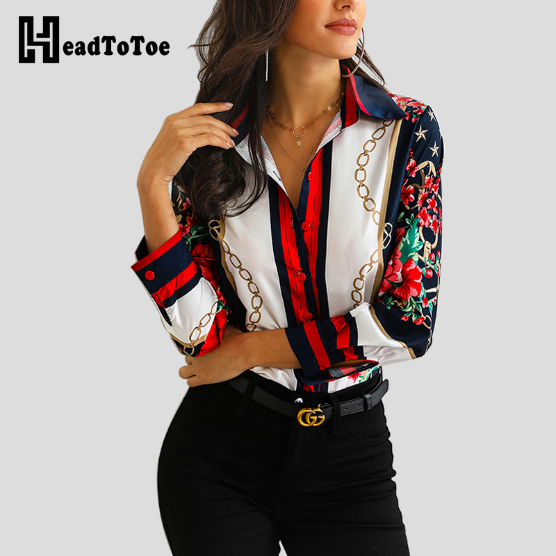 Women Floral Chain Print Elegant   Blouse     Shirt   Office Lady Long Sleeve Turn-down Collar Button   Shirt   2019 Spring   Blouse   Tops