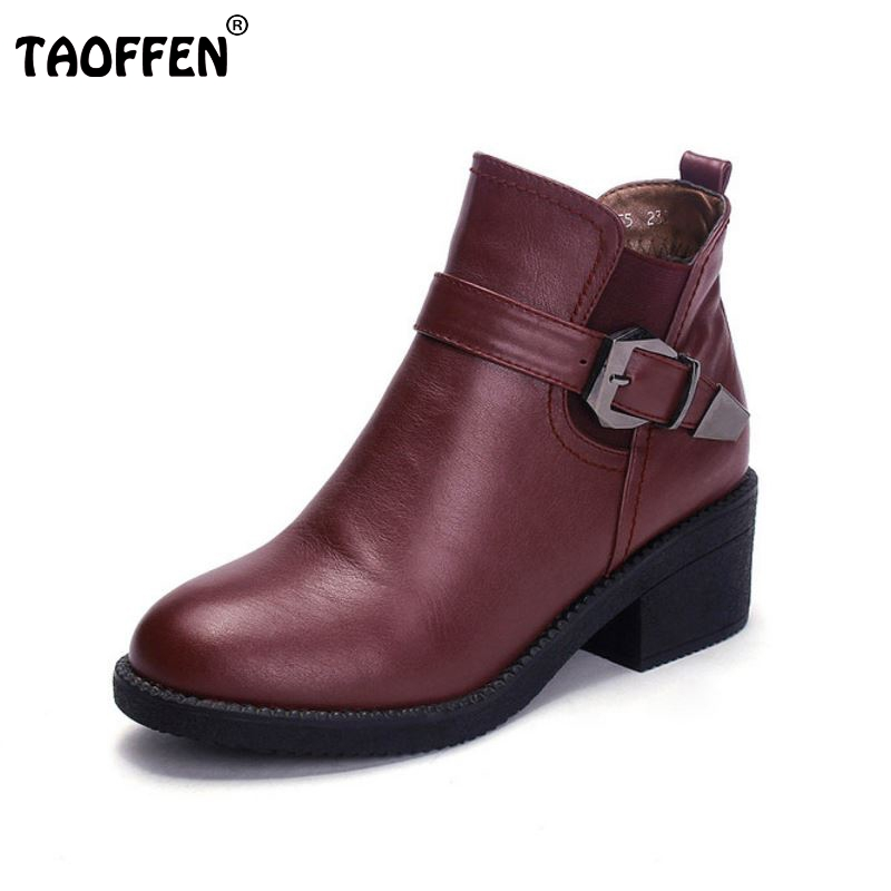 women real genuine leather high heel ankle boots half short botas autumn winter boot warm brand footwear shoes R7545 size 34-39