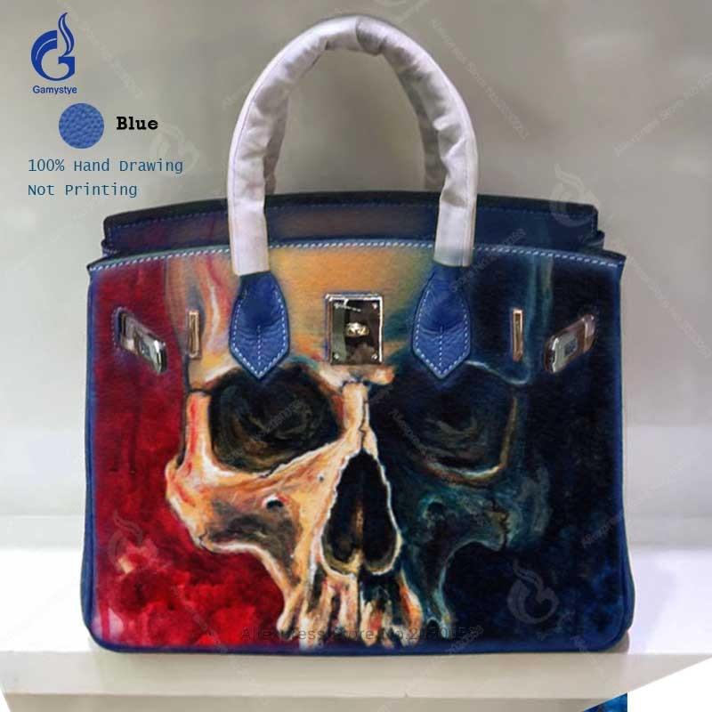 все цены на Shoulder Bag Women Handbags 2018 Fashion Genuine Leather Casual Totes Hand Painted Skull Big Capacity Togo Leather Crossbody Bag онлайн