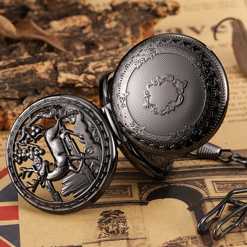Retro Flower And Deer Pattern Carving Mechanical Pocket Watch FOB Waist Chain Hollow Skeleton Two Face Dial Hand Wind Men Watch