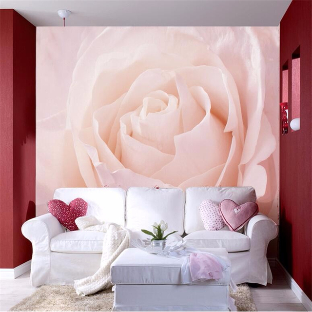 beibehang Custom Photo Wallpaper Stereo Large pink roses artistic ...