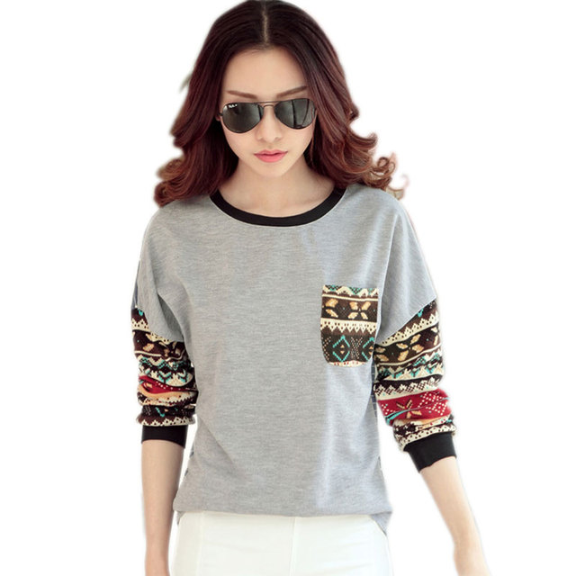 Camiseta femme Outono tshirt longo da luva das mulheres camiseta mulheres top da moda 2016 poleras de mujer Impresso t-shirt camisetas mujer