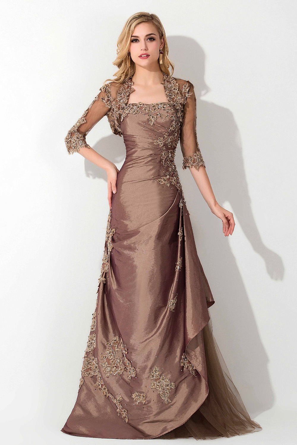 US $125.66 42% OFF|Elegant Brown Plus Size Mother Of The Bride Dresses With  Lace Jacket Strapless Mermaid Long Mother Evening Gowns Half Sleeves-in ...