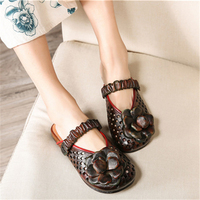 Tyawkiho Genuine Leather Women Sandals Flower Hollow Out Slip On Leather Shoes Summer 2018 Retro Handmade