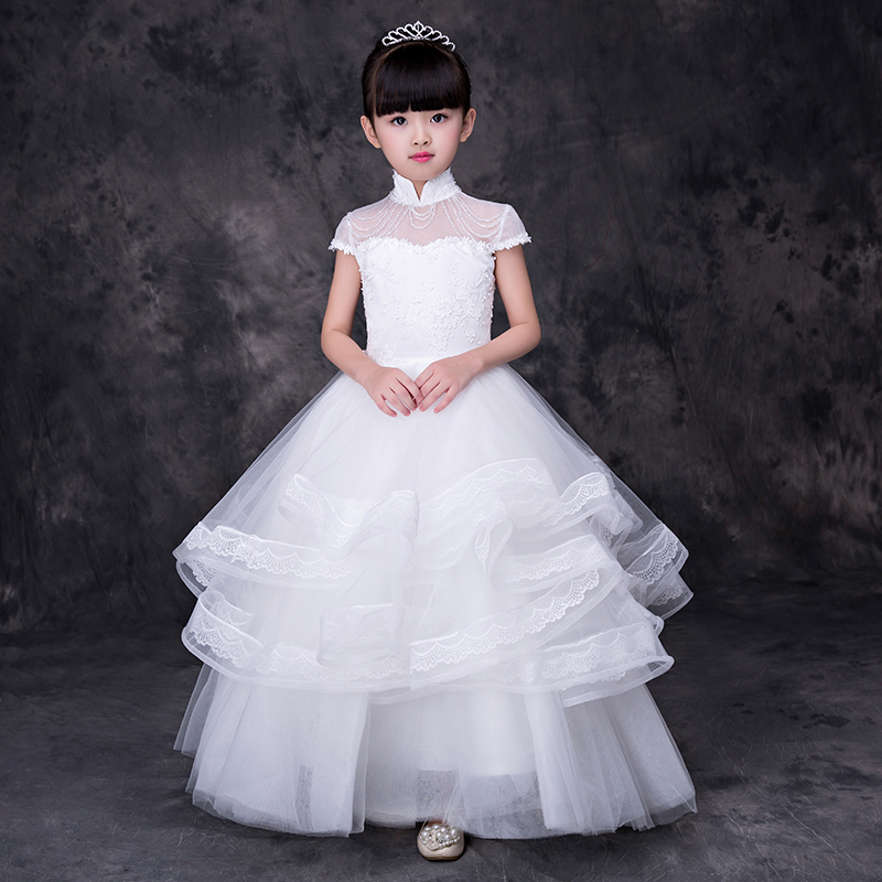 Kids Pageant Gowns Evening Party Costumes White Princess Dress Floor Length Ball Gown Holy Communion Dresses For Girls A147