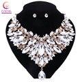 Blanco cristal con pendientes de Boho 2016 declaración collar de Las Mujeres conjuntos de joyas para la boda del partido venta caliente collar de Moda