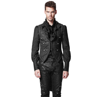 Punk Swallow Tail Long Jacket Gothic Men Formal Vest Coat Sleeveless Back Detachable Cotton Waistcoat