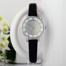 Simple Fashion Women Roman Dress Watches Small Size Korean Girls Students Leather Wristwatch Novel Glass Face