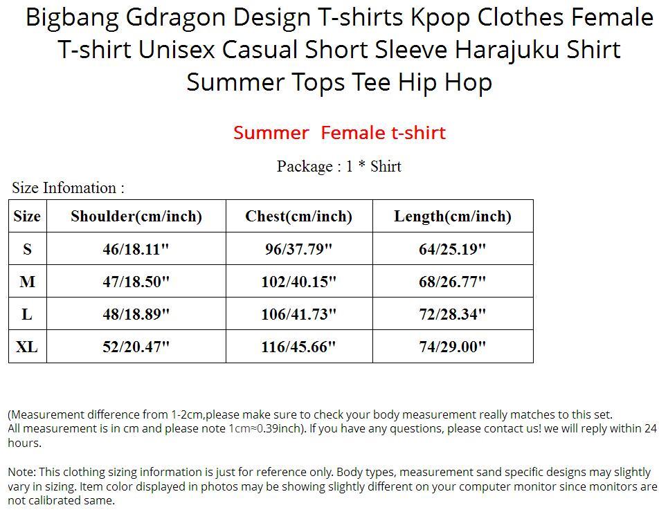 Bigbang Gdragon Design T-shirts Kpop Clothes Female T-shirt Unisex