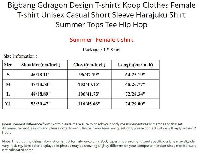 Bigbang Gdragon Design T-shirts Kpop Clothes Female T-shirt Unisex