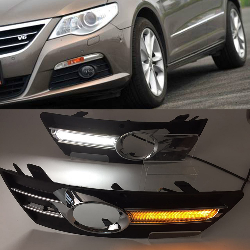 Car Flashing 1Pair For VW PASSAT CC 2009 2010 2011 2012 2013 12V LED CAR DRL Daytime Running Lights With Fog Lamp Hole Cover