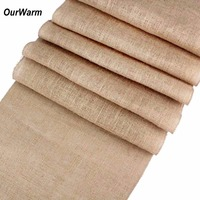 OurWarm Vintage Wedding Decoration Burlap Ribbon Rolls 10m*33cm Jute Modern Table Runners for Wedding Party Table Decorations