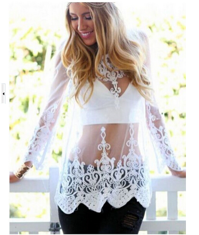 Symbol Of The Brand 1pcs/lot Free Shipping Summer Women Sexy Lace Embroidered Blouse Translucent Gauze Chiffon Shirts Woman White Solid Tops Women's Clothing